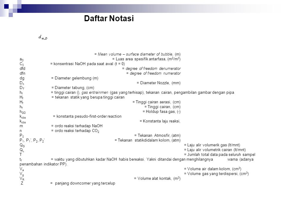Daftar Notasi = Mean volume – surface diameter of bubble, (m)