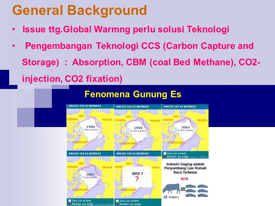 General Background Issue ttg.Global Warmng perlu solusi Teknologi
