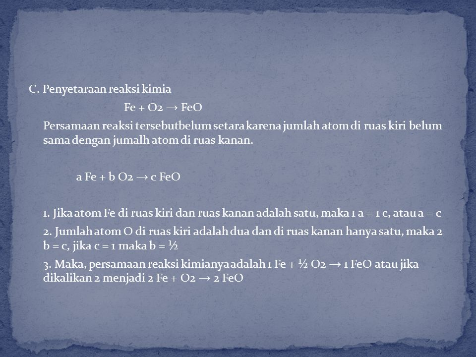 C. Penyetaraan reaksi kimia