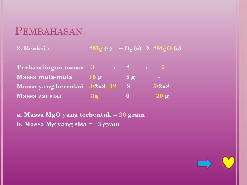 Pembahasan 2. Reaksi : 2Mg (s) + O2 (s)  2MgO (s)