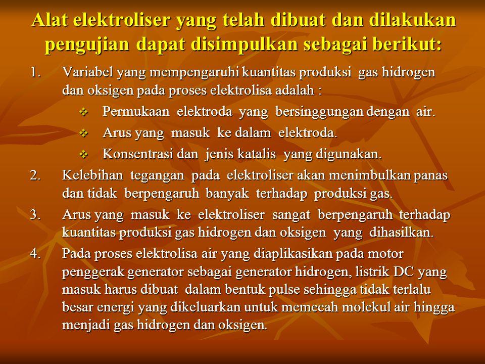 Alat elektroliser yang telah dibuat dan dilakukan pengujian dapat disimpulkan sebagai berikut: