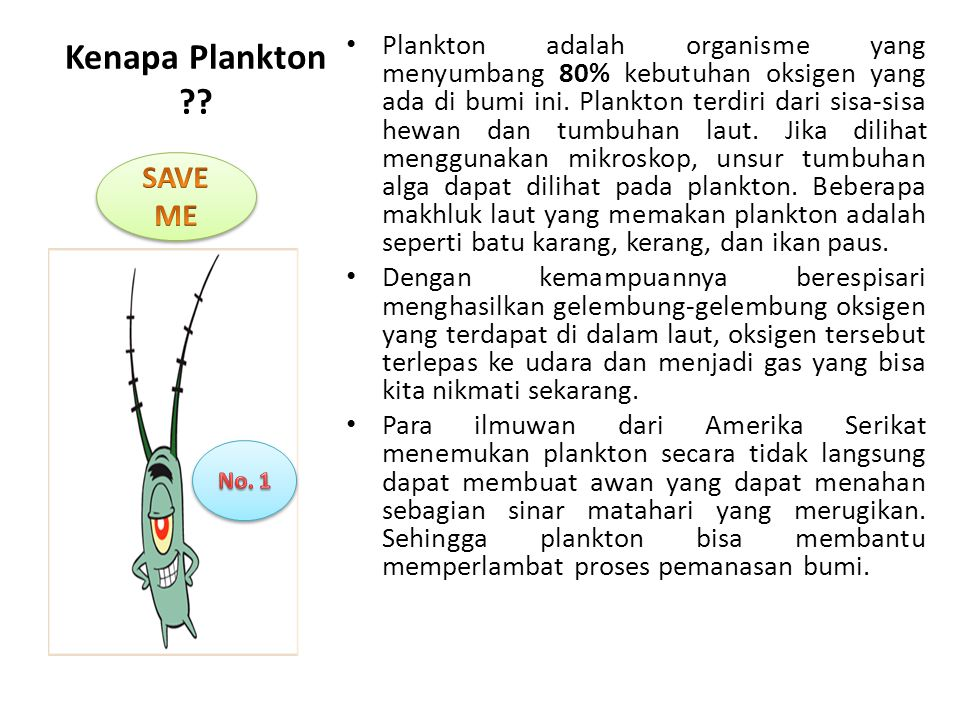 Kenapa Plankton SAVE ME