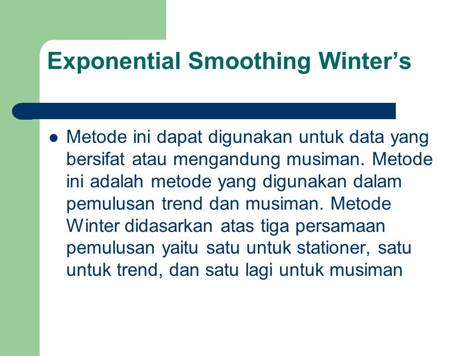 Exponential Smoothing Winter's