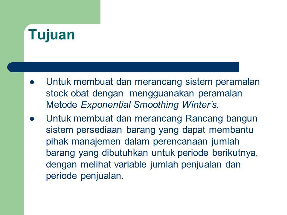 Tujuan Untuk membuat dan merancang sistem peramalan stock obat dengan mengguanakan peramalan Metode Exponential Smoothing Winter's.