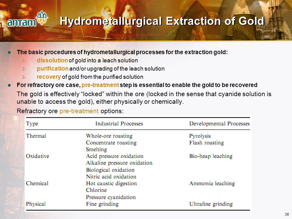 Hydrometallurgical Extraction of Gold