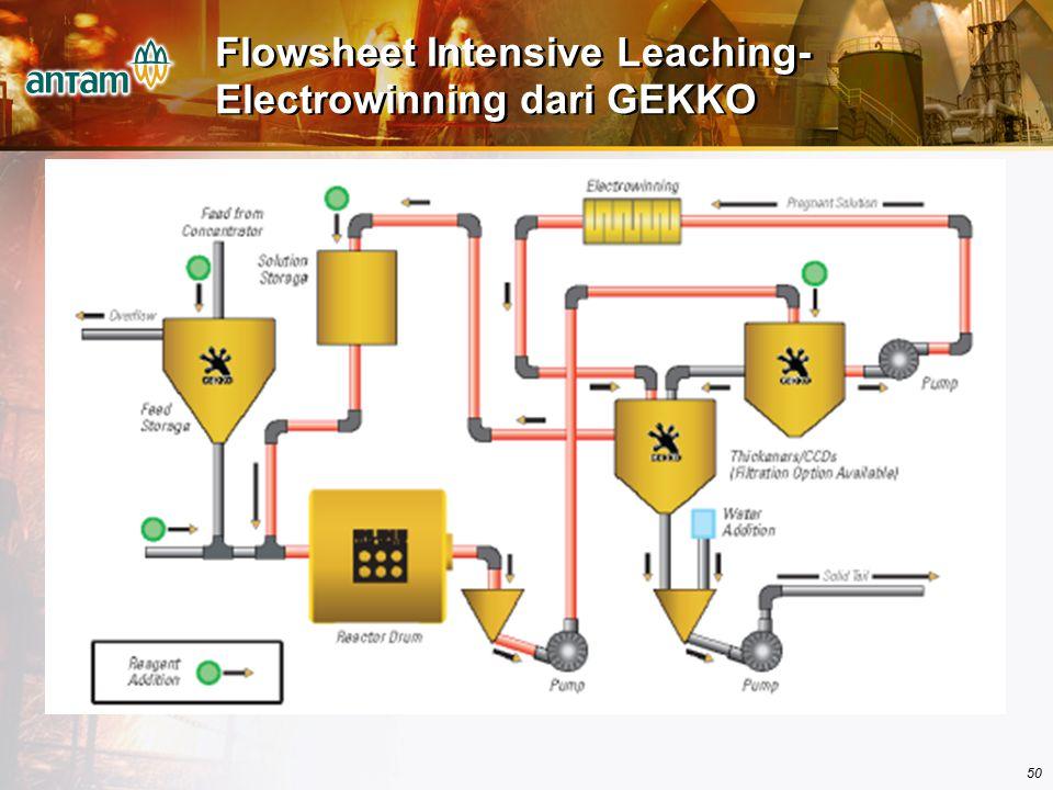 Flowsheet Intensive Leaching-Electrowinning dari GEKKO
