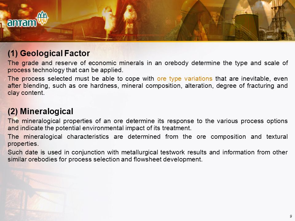 (1) Geological Factor (2) Mineralogical
