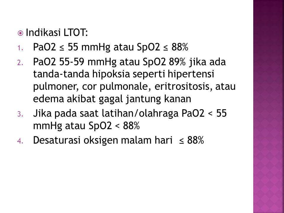 Indikasi LTOT: PaO2 ≤ 55 mmHg atau SpO2 ≤ 88%