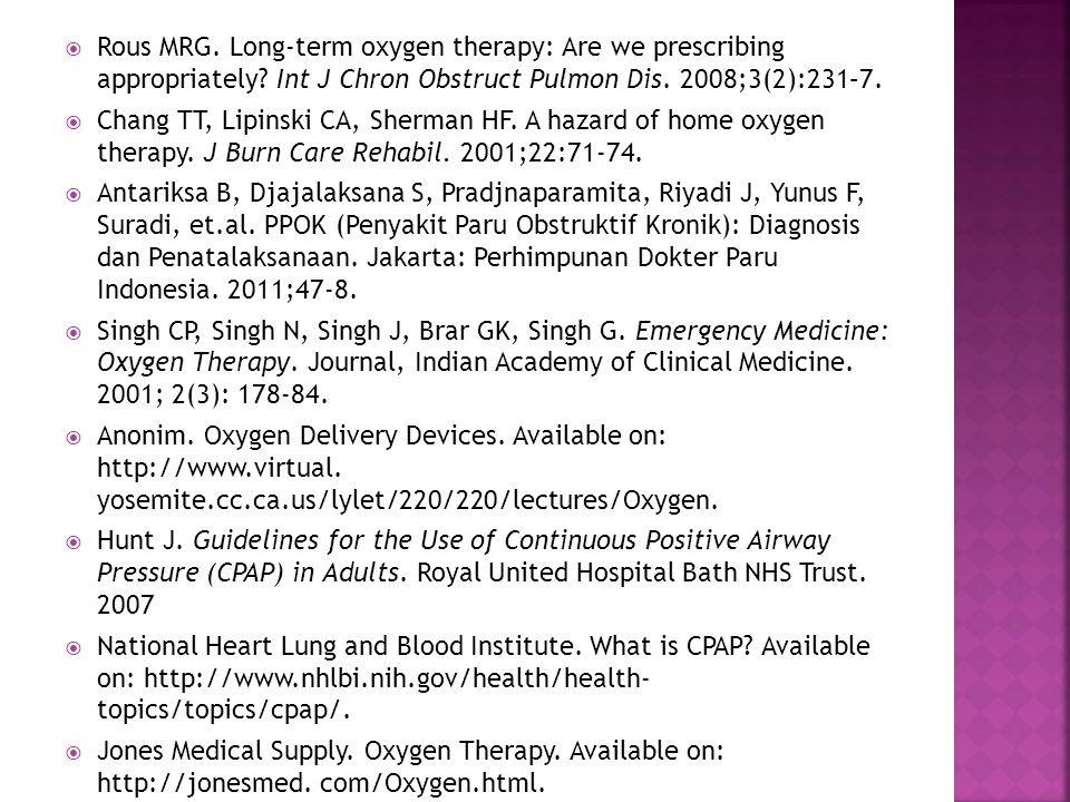 Rous MRG. Long-term oxygen therapy: Are we prescribing appropriately