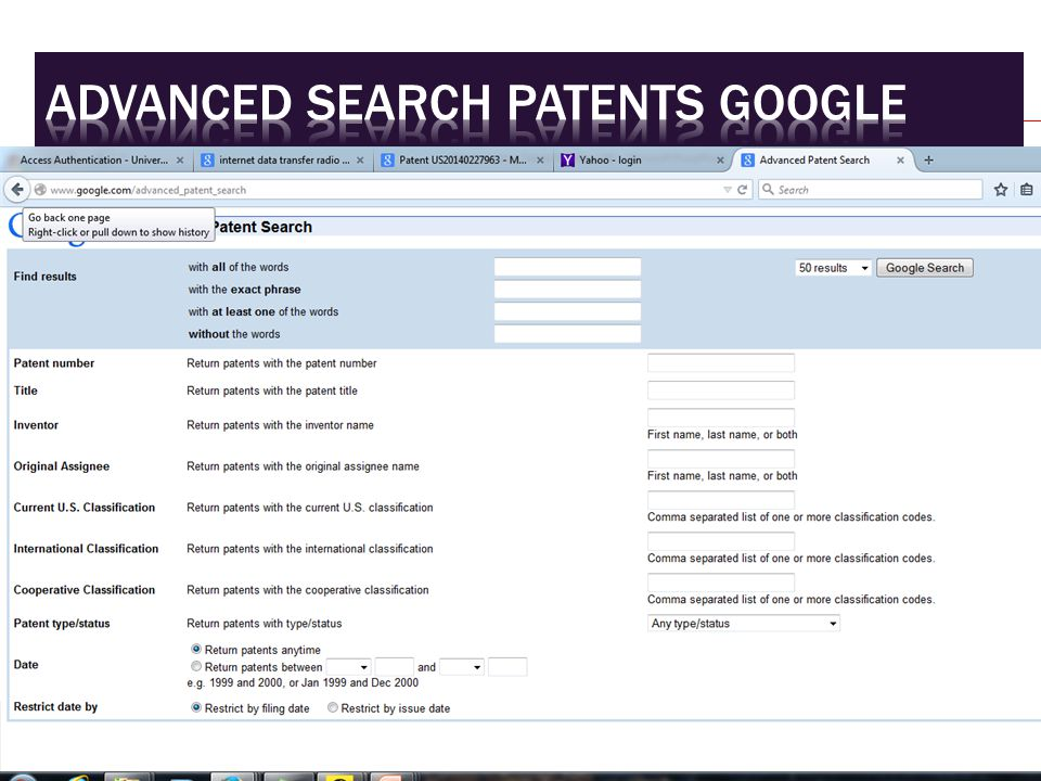 Advanced search patents google