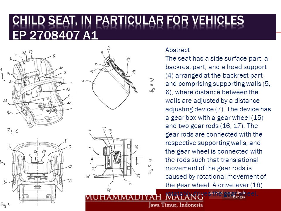 Child seat, in particular for vehicles EP 2708407 A1