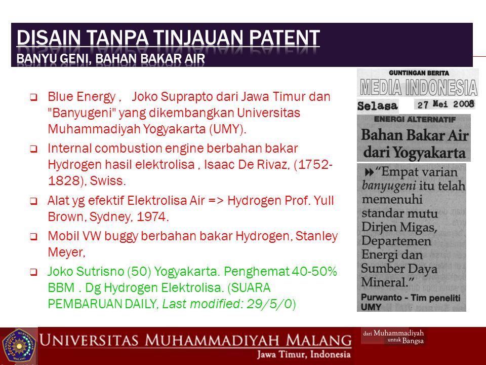 Disain tanpa tinjauan patent Banyu geni, bahan bakar air