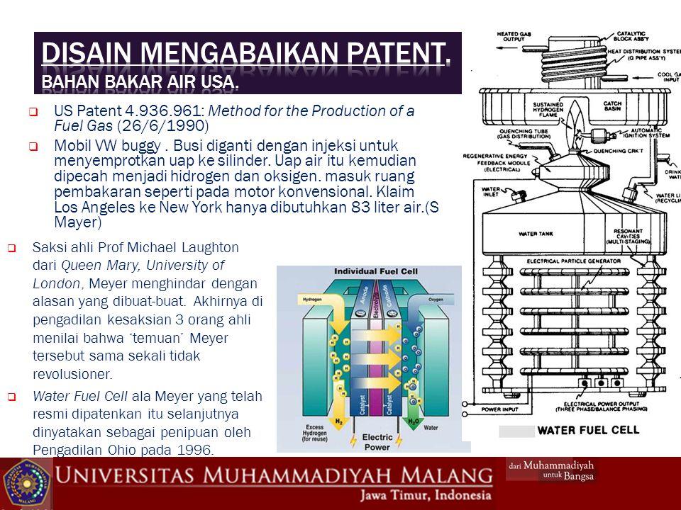 Disain mengabaikan patent. Bahan bakar air USA.