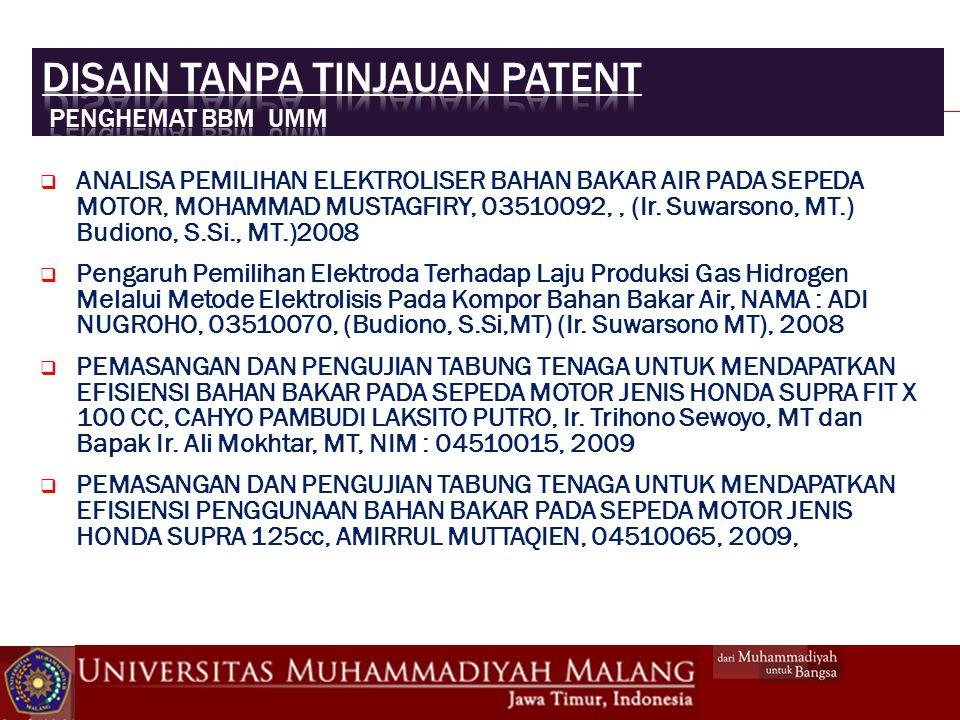 Disain tanpa tinjauan patent Penghemat bbm UMM