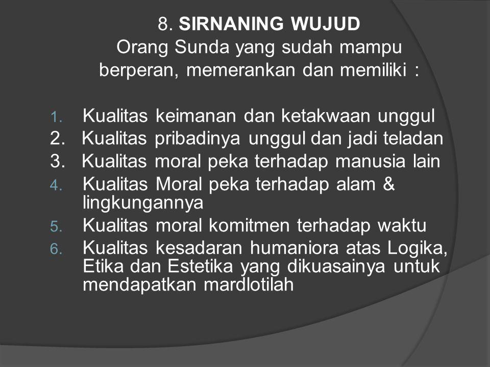 Orang Sunda yang sudah mampu berperan, memerankan dan memiliki :