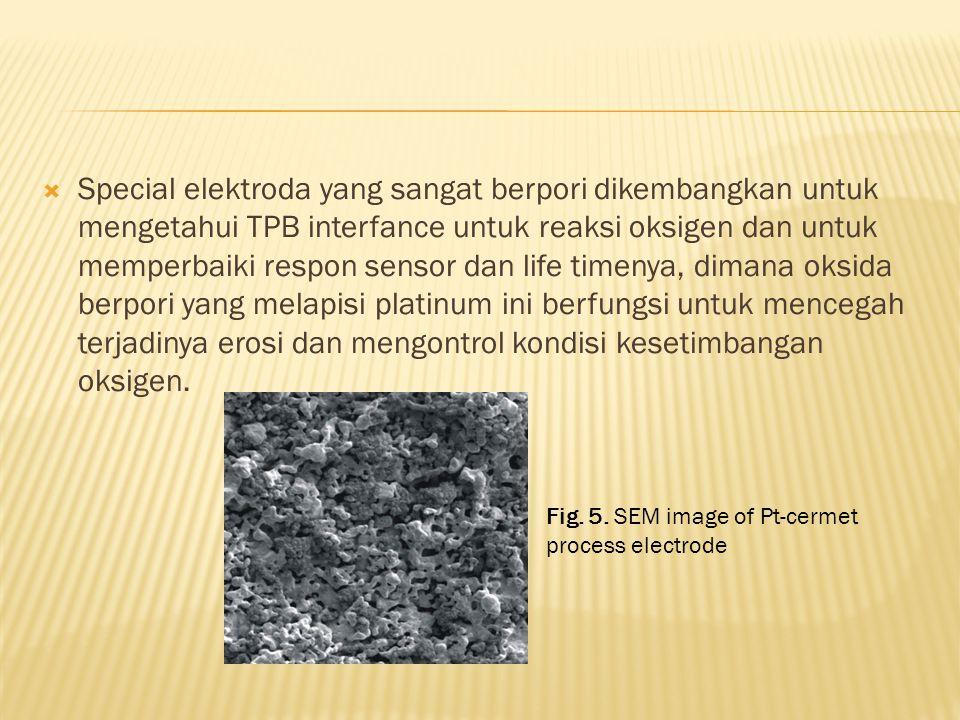 Special elektroda yang sangat berpori dikembangkan untuk mengetahui TPB interfance untuk reaksi oksigen dan untuk memperbaiki respon sensor dan life timenya, dimana oksida berpori yang melapisi platinum ini berfungsi untuk mencegah terjadinya erosi dan mengontrol kondisi kesetimbangan oksigen.