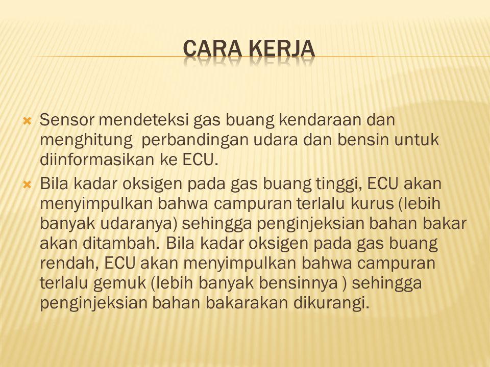 CARA KERJA Sensor mendeteksi gas buang kendaraan dan menghitung perbandingan udara dan bensin untuk diinformasikan ke ECU.