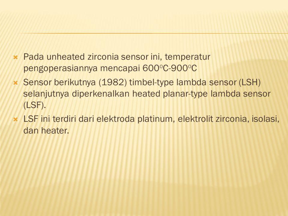 Pada unheated zirconia sensor ini, temperatur pengoperasiannya mencapai 600oC-900oC