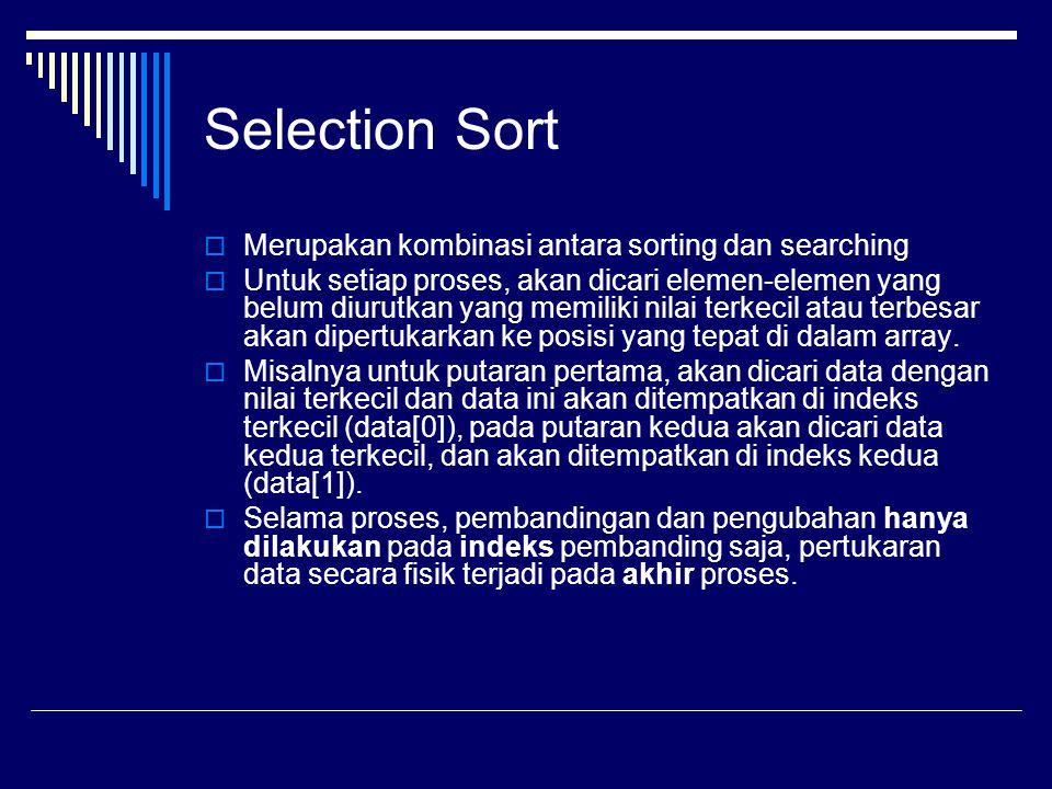Selection Sort Merupakan kombinasi antara sorting dan searching