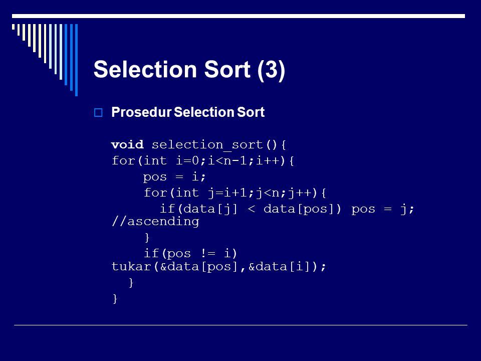 Selection Sort (3) Prosedur Selection Sort void selection_sort(){