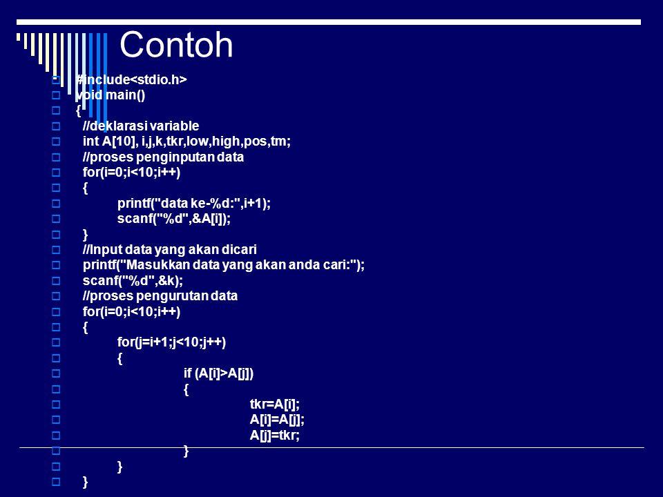 Contoh #include<stdio.h> void main() { //deklarasi variable