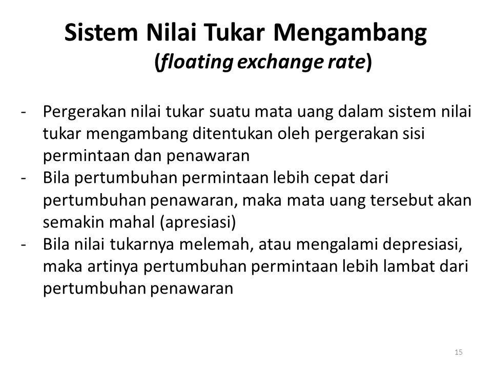 Sistem Nilai Tukar Mengambang (floating exchange rate)
