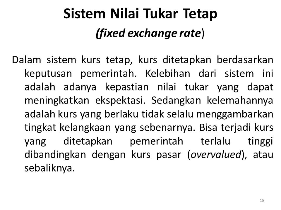 Sistem Nilai Tukar Tetap (fixed exchange rate)