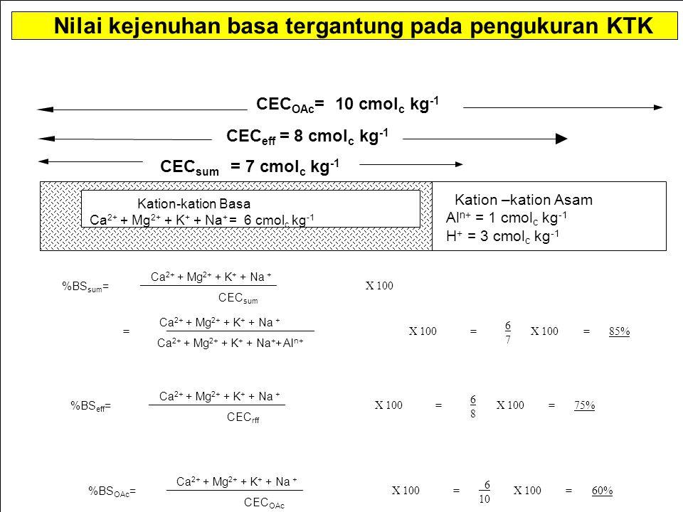 Nilai kejenuhan basa tergantung pada pengukuran KTK