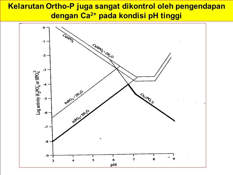 Kelarutan Ortho-P juga sangat dikontrol oleh pengendapan dengan Ca2+ pada kondisi pH tinggi