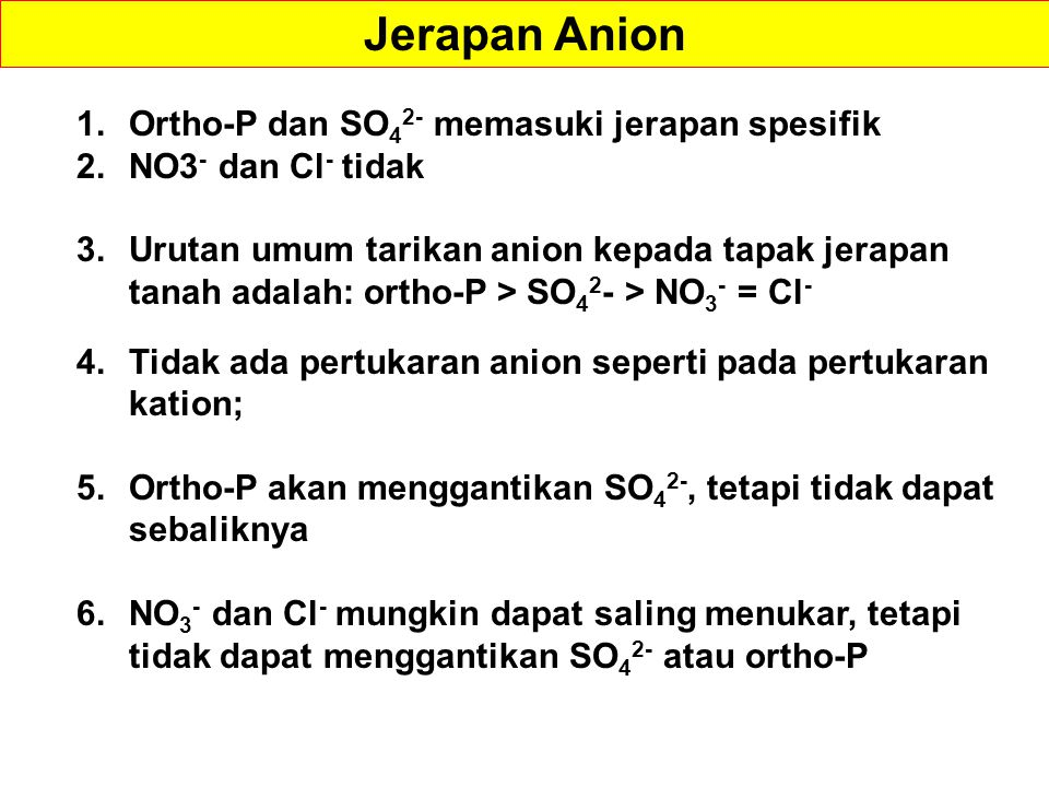 Jerapan Anion Ortho-P dan SO42- memasuki jerapan spesifik