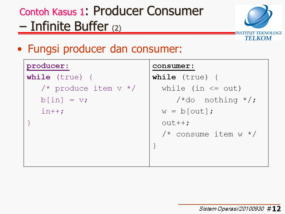 Contoh Kasus 1: Producer Consumer – Infinite Buffer (2)