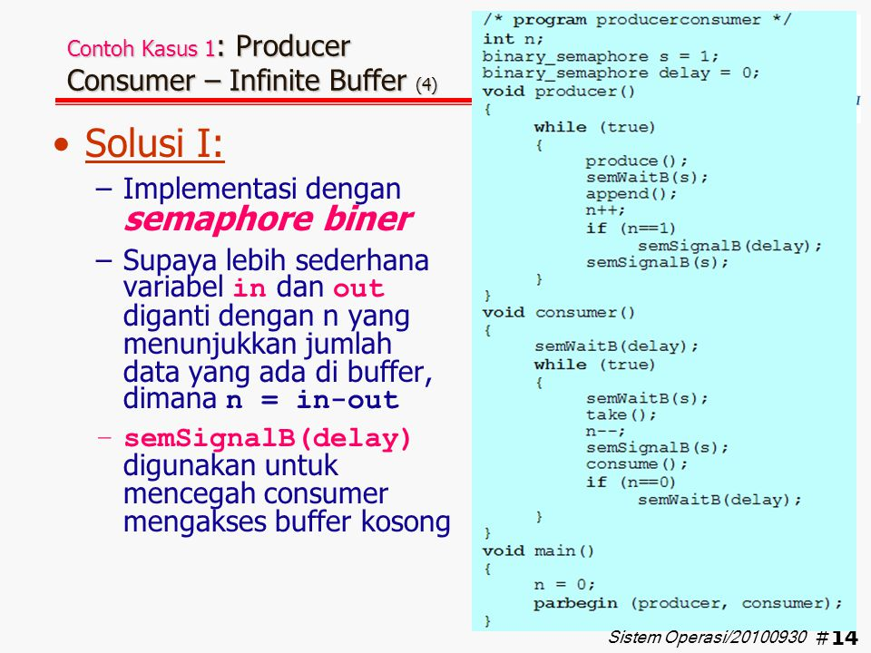 Contoh Kasus 1: Producer Consumer – Infinite Buffer (4)