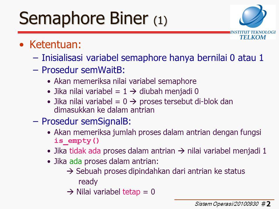 Semaphore Biner (1) Ketentuan: