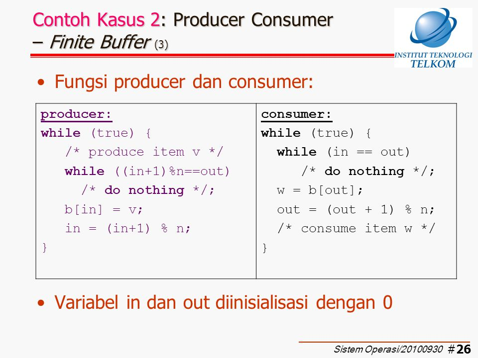 Contoh Kasus 2: Producer Consumer – Finite Buffer (3)