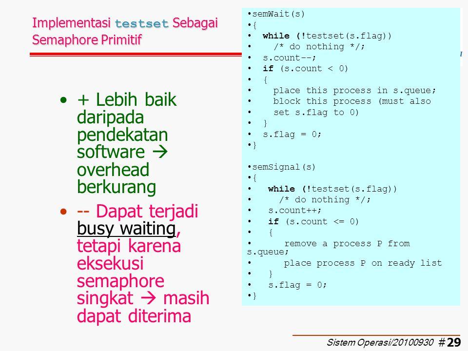 Implementasi testset Sebagai Semaphore Primitif