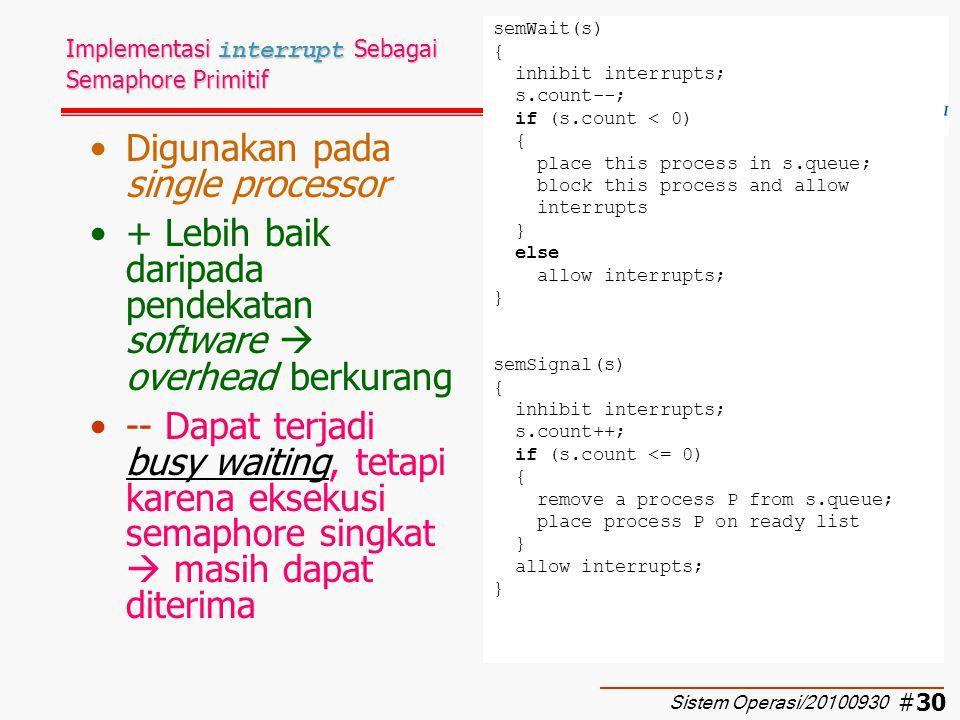 Implementasi interrupt Sebagai Semaphore Primitif