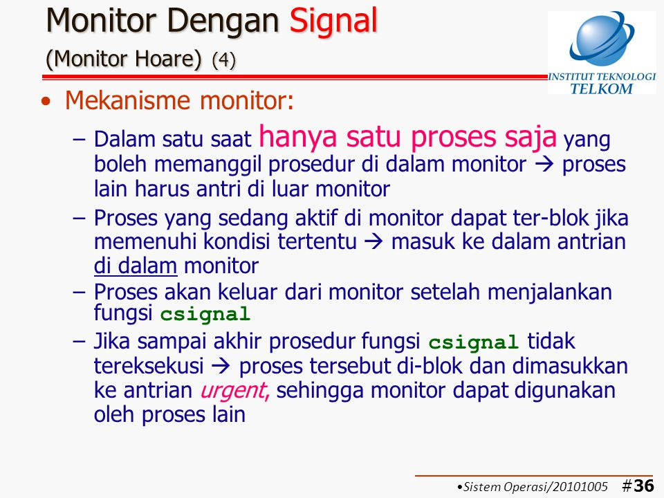 Monitor Dengan Signal (Monitor Hoare) (4)