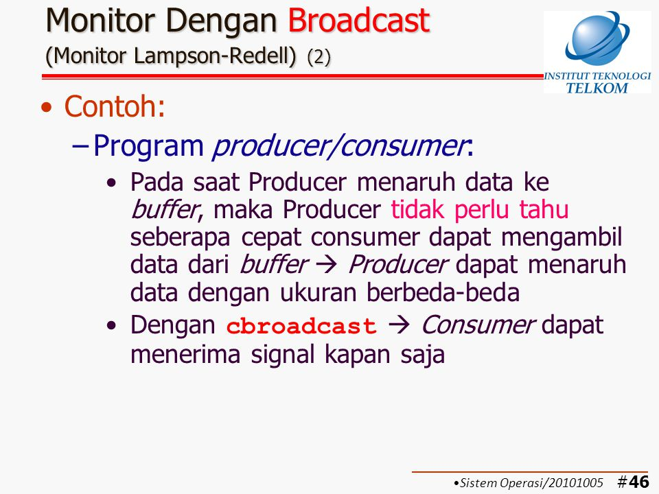 Monitor Dengan Broadcast (Monitor Lampson-Redell) (2)