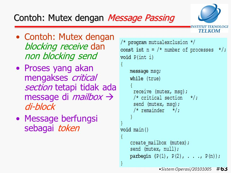 Contoh: Mutex dengan Message Passing