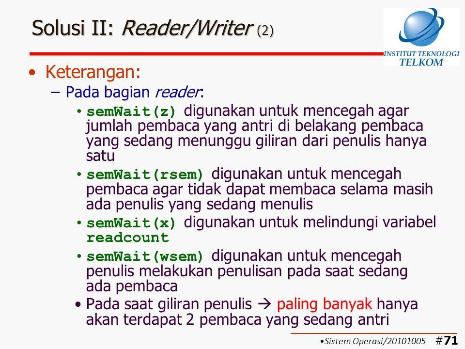 Solusi II: Reader/Writer (2)