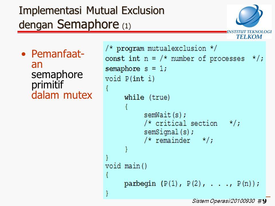 Implementasi Mutual Exclusion dengan Semaphore (1)
