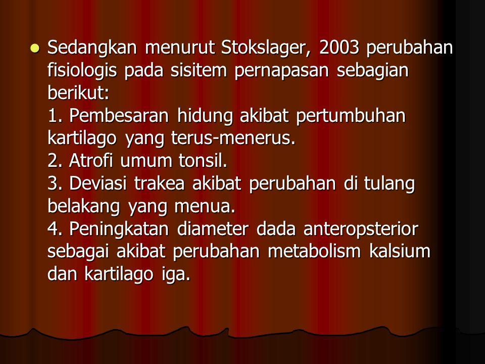 Sedangkan menurut Stokslager, 2003 perubahan fisiologis pada sisitem pernapasan sebagian berikut: 1.
