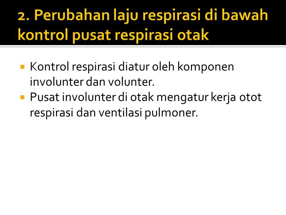 2. Perubahan laju respirasi di bawah kontrol pusat respirasi otak