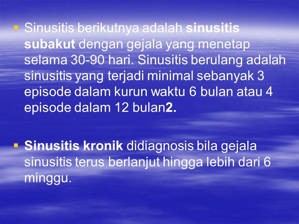 Sinusitis berikutnya adalah sinusitis subakut dengan gejala yang menetap selama 30-90 hari. Sinusitis berulang adalah sinusitis yang terjadi minimal sebanyak 3 episode dalam kurun waktu 6 bulan atau 4 episode dalam 12 bulan2.