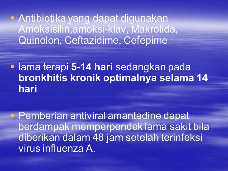 Antibiotika yang dapat digunakan Amoksisilin,amoksi-klav, Makrolida, Quinolon, Ceftazidime, Cefepime