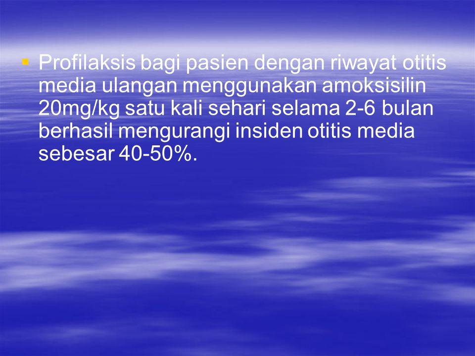 Profilaksis bagi pasien dengan riwayat otitis media ulangan menggunakan amoksisilin 20mg/kg satu kali sehari selama 2-6 bulan berhasil mengurangi insiden otitis media sebesar 40-50%.