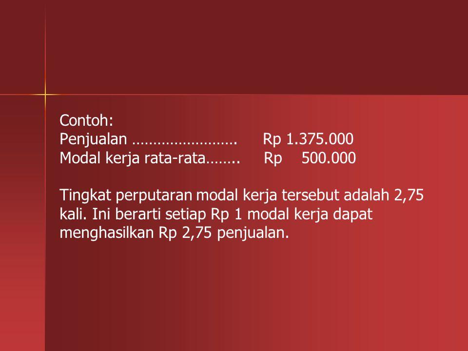 Contoh: Penjualan ……………………. Rp 1. 375. 000 Modal kerja rata-rata……