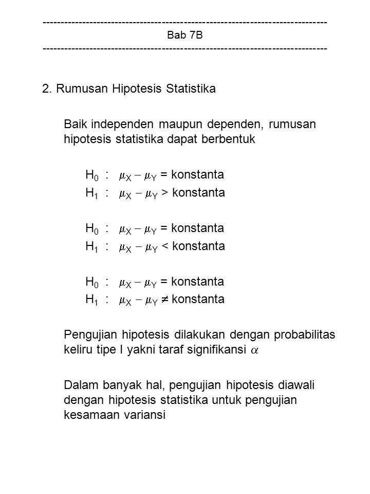 2. Rumusan Hipotesis Statistika