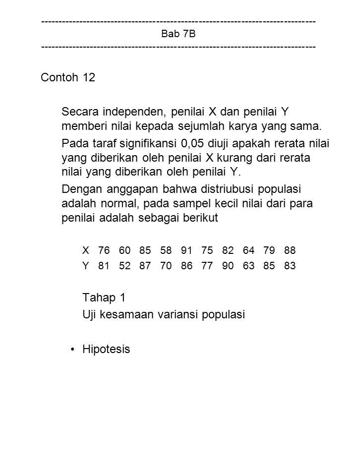 Uji kesamaan variansi populasi Hipotesis