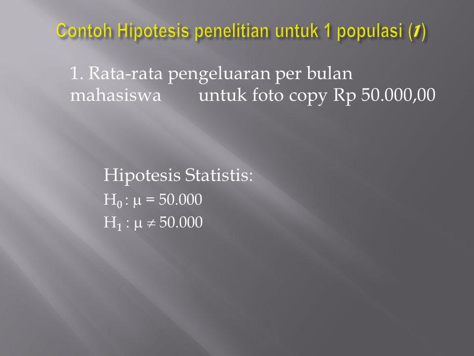 Contoh Hipotesis penelitian untuk 1 populasi (1)